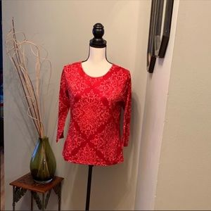 Talbots 3/4 length patterned top